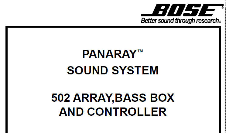 BOSE 502A 502B 502C ARRAY BASS BOX AND CONTROLLER PANARAY