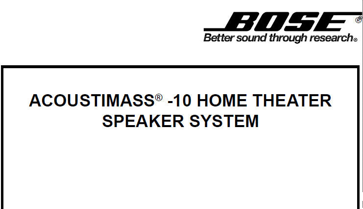 BOSE ACOUSTIMASS 10 HOME THEATER SPEAKER SYSTEM SERVICE