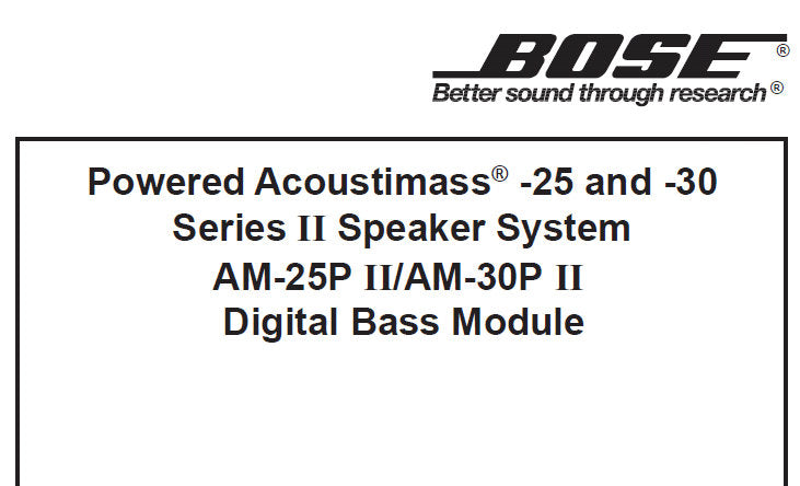 BOSE AM-25P SERIES II AM-30P SERIES II DIGITAL BASS MODULE
