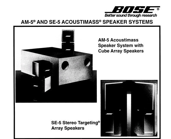 BOSE AM-5 ACOUSTIMASS SPEAKER SYSTEM SE-5 TARGETTING ARRAY SPEAKERS SERVICE MANUAL INC SCHEM DIAG TEST DIAGS AC BOX ASS'Y AM-5 CUBE ASS'Y AND PARTS LIST 16 PAGES ENG