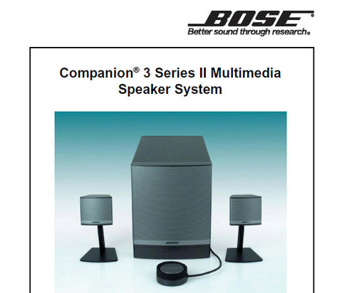 BOSE COMPANION 3 SERIES II MULTI MEDIA SPEAKER SYSTEM SERVICE MANUAL INC PARTS LIST 30 PAGES ENG