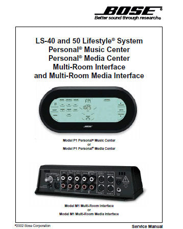 BOSE LS-40 LS-50 LIFESTYLE SYSTEM PERSONAL MUSIC CENTER PERSONAL MEDIA CENTER MULTI ROOM INTERFACE AND MULTI ROOM MEDIA INTERFACE SERVICE MANUAL INC INTEGRATED CIRCUIT DIAGRAMS AND PARTS LIST 75 PAGES ENG