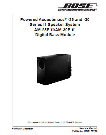 BOSE POWERED ACOUSTIMASS 25 AND 30 SERIES II SPEAKER SYSTEM AM-25P SERIES II AM-30P SERIES II DIGITAL BASS MODULE SERVICE MANUAL INC DSP PCB BLK DIAG D AND P SIGNAL FLOW DIAG SAT ASSY DIAG JEWEL CUBE ASSY DIAG INT CIRCS DIAGS AND PARTS LIST 53 PAGES ENG
