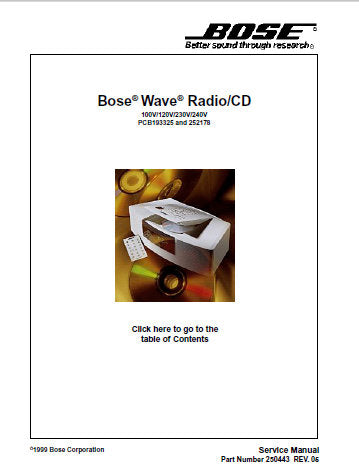 BOSE WAVE RADIO CD SERVICE MANUAL INC KEYBOARD SCHEM DIAG AND PARTS LIST 41 PAGES ENG