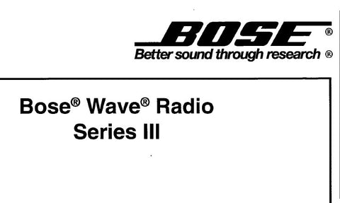 BOSE WAVE RADIO SERIES III AWRC3P SERVICE MANUAL INC BLK DIAG SCHEM DIAGS PCB'S AND PARTS LIST 44 PAGES ENG
