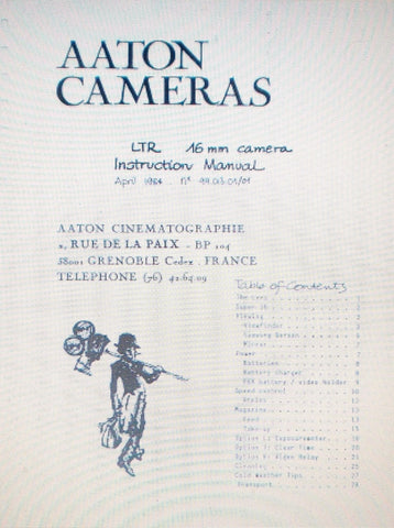 AATON 16 LTR 16mm CAMERA INSTRUCTION MANUAL 32 PAGES ENG
