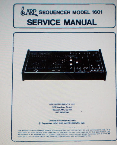 ARP 1601 SEQUENCER SERVICE MANUAL INC BLOCK DIAGRAM AND SCHEMATICS 21 PAGES ENG