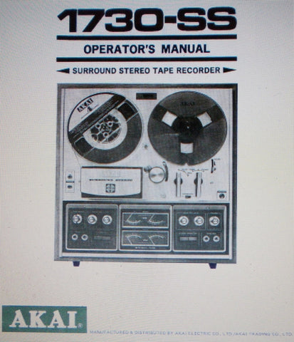 AKAI 1730-SS SURROUND STEREO REEL TO REEL TAPE  RECORDER OPERATOR'S MANUAL 25 PAGES ENG