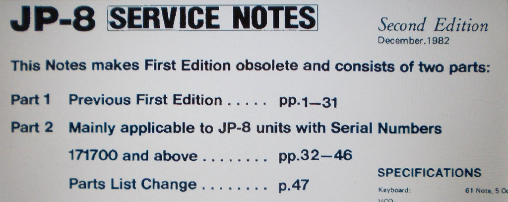 ROLAND JP-8 JUPITER SYNTHESIZER SERVICE NOTES SECOND EDITION INC SCHEMS 60 PAGES ENG
