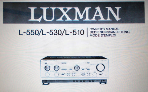 LUXMAN L-510 L-530 L-550 STEREO INTEGRATED AMPLIFIER OWNER'S MANUAL INC CONNECTIONS DIAGRAM 16 PAGES ENG DEUT FRANC
