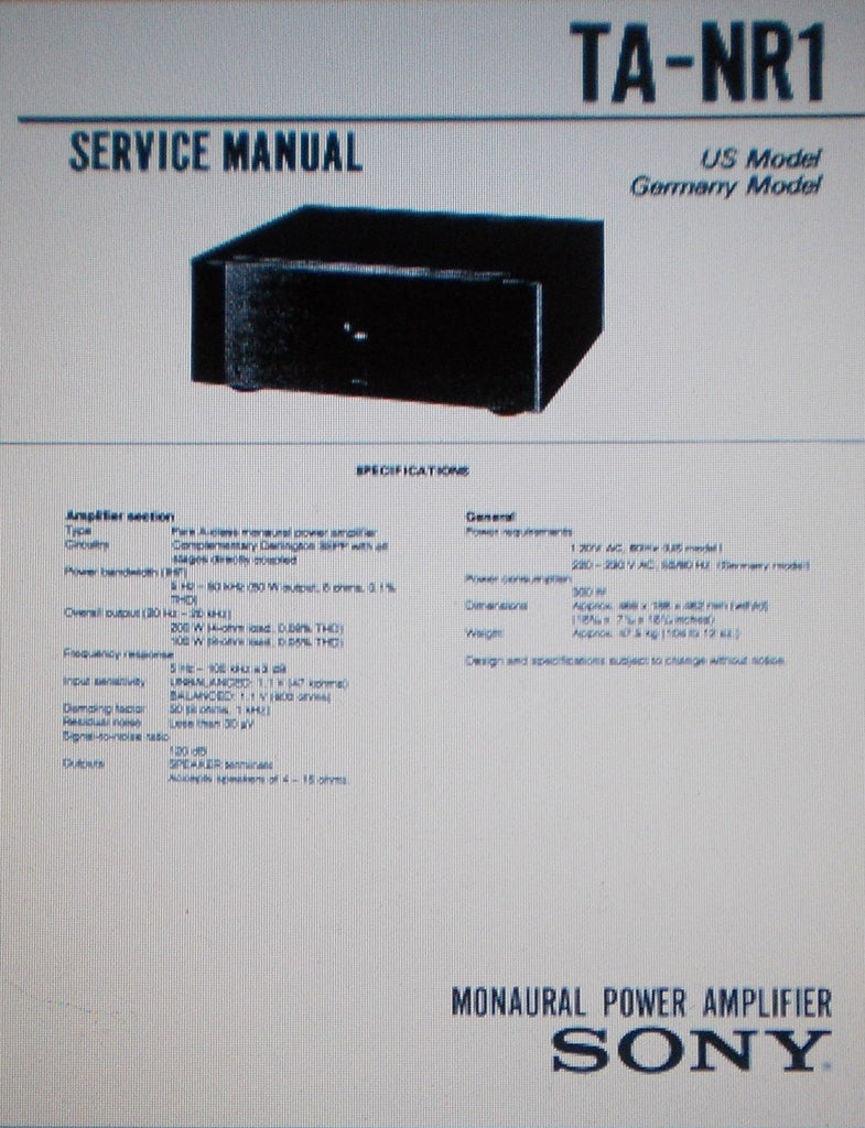 SONY TA-NR1 MONAURAL POWER AMP SERVICE MANUAL INC CONN DIAGS SCHEMS PCBS AND PARTS LIST 26 PAGES ENG