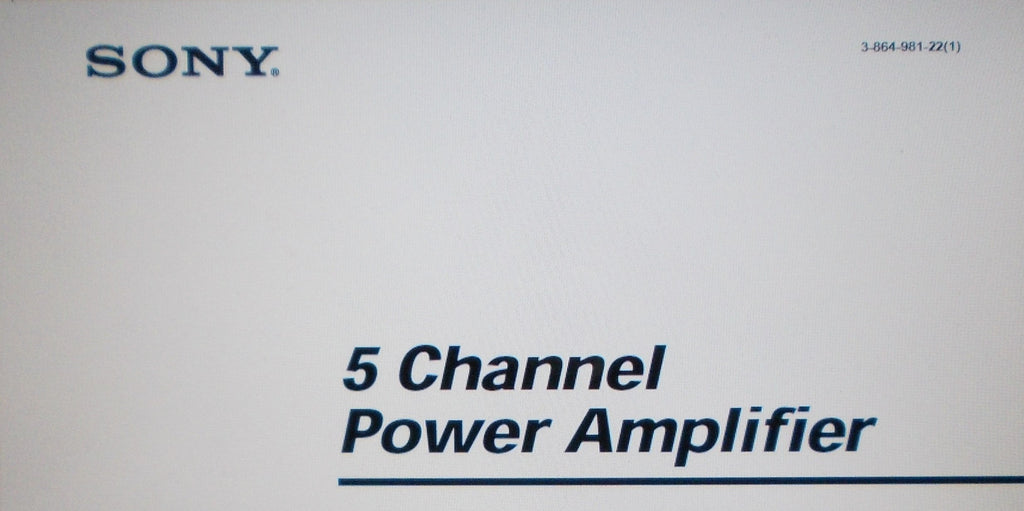 SONY TA-N9000ES 5 CHANNEL POWER AMP OPERATING INSTRUCTIONS INC CONN DIAGS AND TRSHOOT GUIDE 132 PAGES ENG DEUT FRANC MULTI