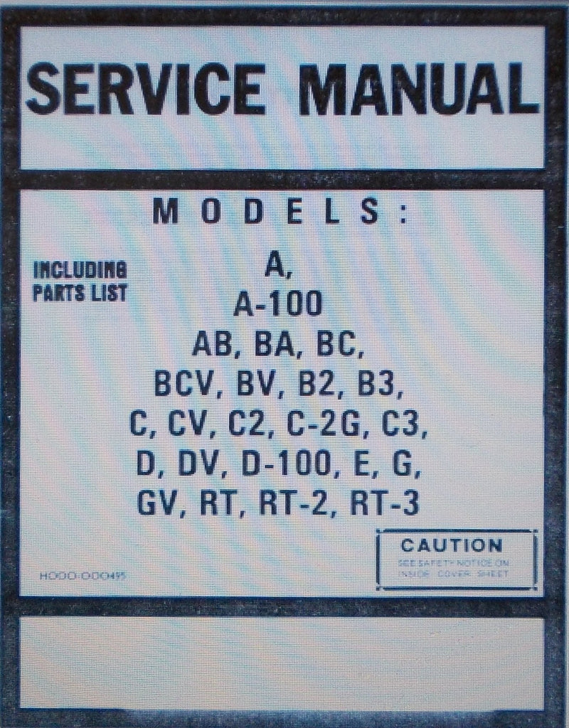 HAMMOND MODELS A  A-100 AB BA BC BCV BV B2 B3 C CV C2 C-2G C3 D DV D-100 E G GV RT RT-2 RT-3 SERVICE MANUAL INC SCHEMS AND PARTS LIST INC TONE CABINET INSTR 220 PAGES ENG