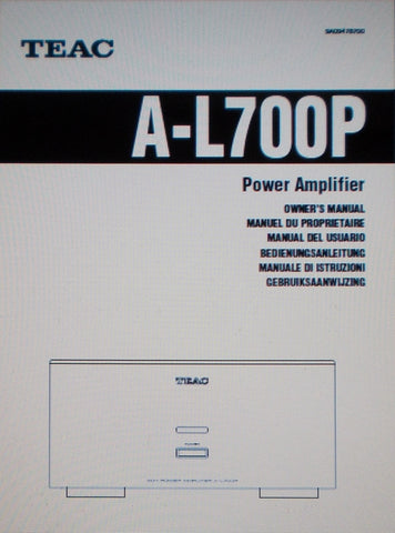 TEAC A-L700P STEREO POWER AMP OWNER'S MANUAL INC CONN DIAG 20 PAGES ENG FRANC DEUT