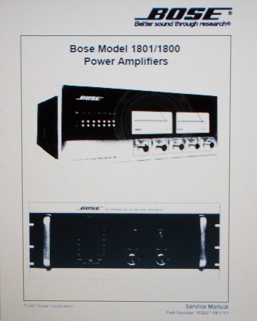 BOSE 1800 AND 1801 STEREO POWER AMPS SERVICE MANUAL INC SCHEMS AND PARTS LIST 32 PAGES ENG