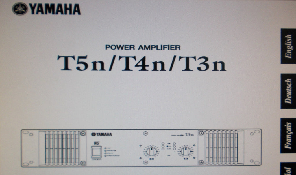 YAMAHA T3n T4n T5n STEREO POWER AMP OWNER'S MANUAL INC CONN DIAG AND BLK DIAG 18 PAGES ENG