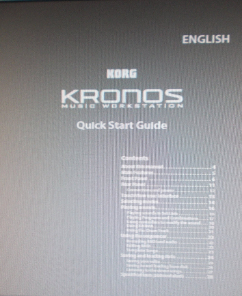 KORG KRONOS MUSIC WORKSTATION QUICK START GUIDE 28 PAGES ENG