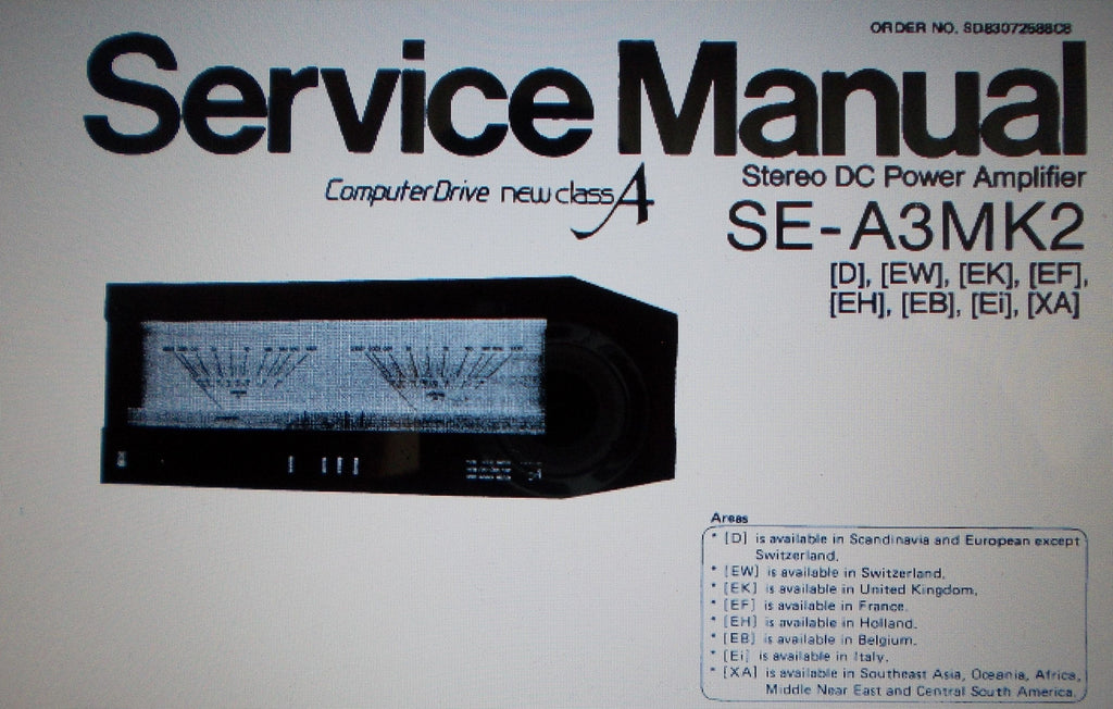 TECHNICS SE-A3MK2 COMPUTER DRIVE NEW CLASS A STEREO DC POWER AMP SERVICE MANUAL INC BLK DIAGS WIRING DIAG SCHEM DIAG PCBS AND PARTS LIST 26 PAGES ENG