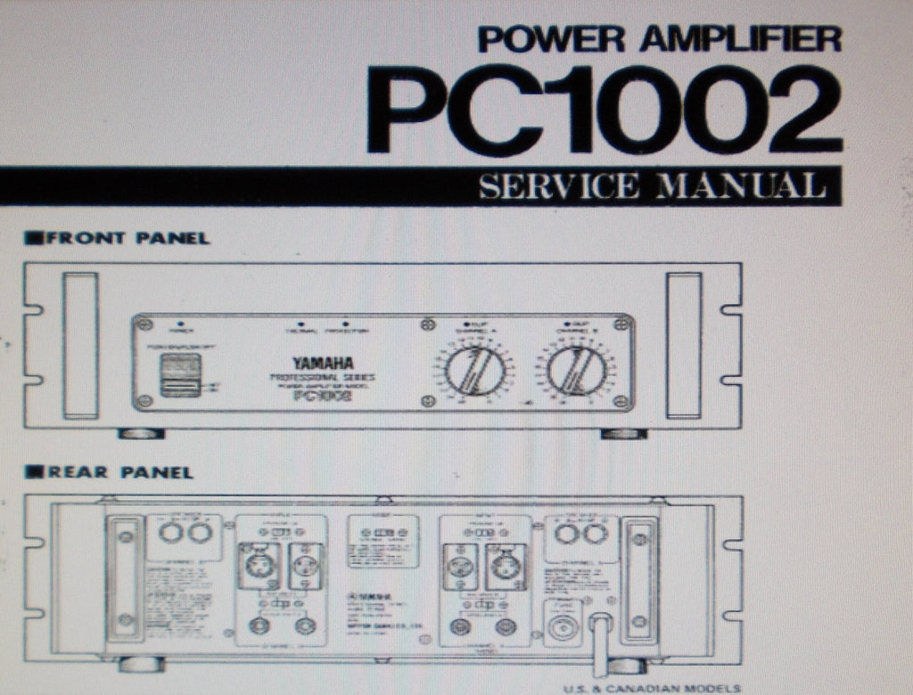 YAMAHA PC1002 PRO SERIES STEREO POWER AMP SERVICE MANUAL INC BLK DIAG SCHEM DIAG PCBS AND PARTS LIST 15 PAGES ENG