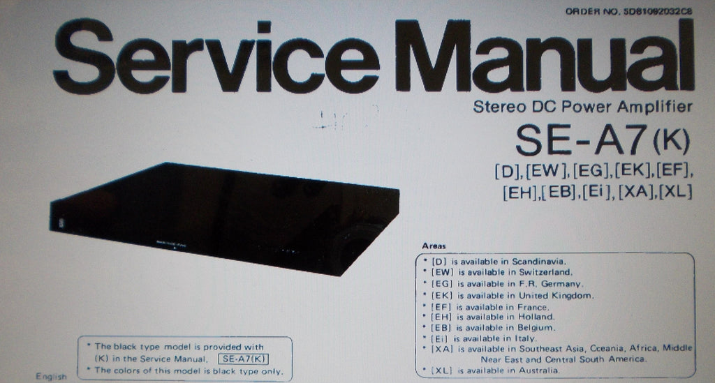 TECHNICS SE-A7 STEREO DC POWER AMP SERVICE MANUAL INC BLK DIAGS SCHEMS PCBS AND PARTS LIST 32 PAGES ENG DEUT FRANC ESP