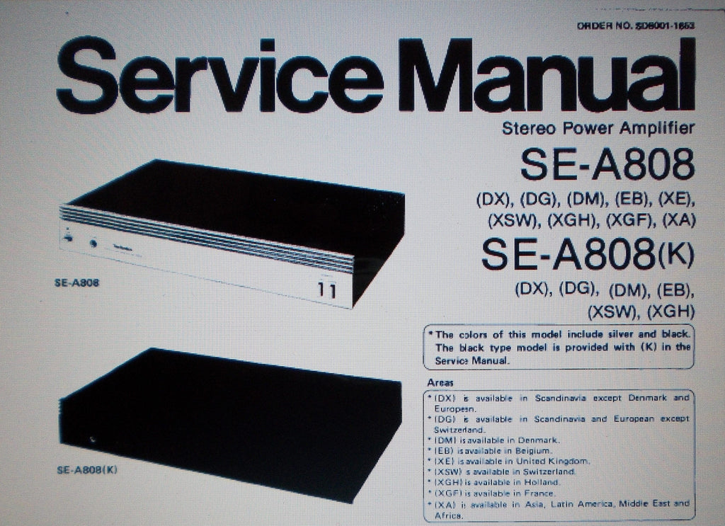 TECHNICS SE-A808 SE-A808K STEREO POWER AMP SERVICE MANUAL INC BLK DIAGS SCHEM DIAG PCB AND PARTS LIST 14 PAGES ENG