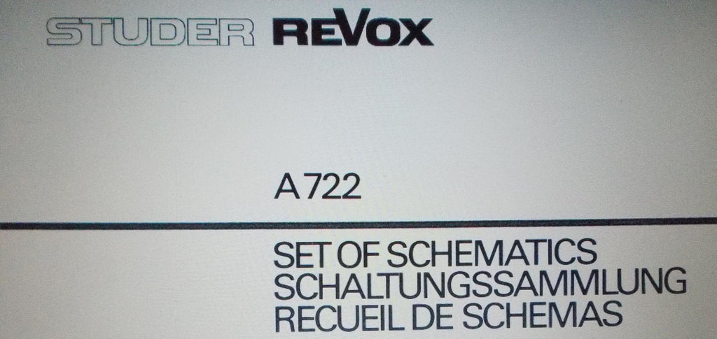 STUDER REVOX A722 STEREO POWER AMP SET OF SCHEMATICS LATER VERSION 4 PAGES ENG DEUT FRANC