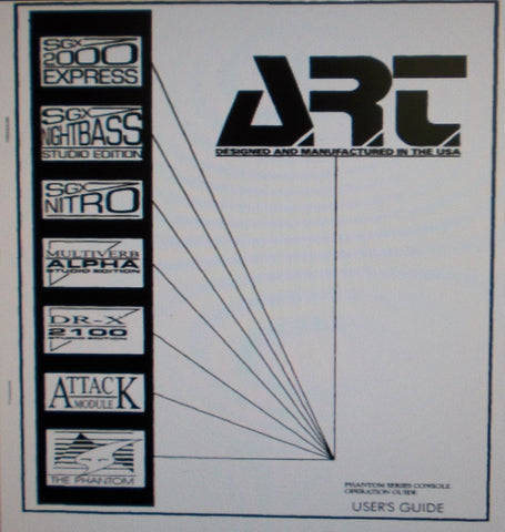 ART PHANTOM SERIES CONSOLE OPERATION GUIDE INC BLK DIAG 25 PAGES ENG