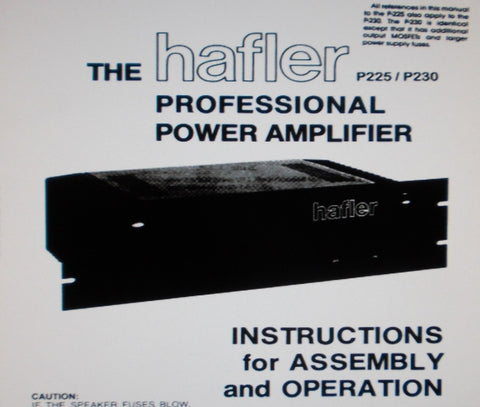 HAFLER P225 P230 PROFESSIONAL POWER AMPS INSTRUCTIONS FOR ASSEMBLY AND OPERATION 4 PAGES ENG