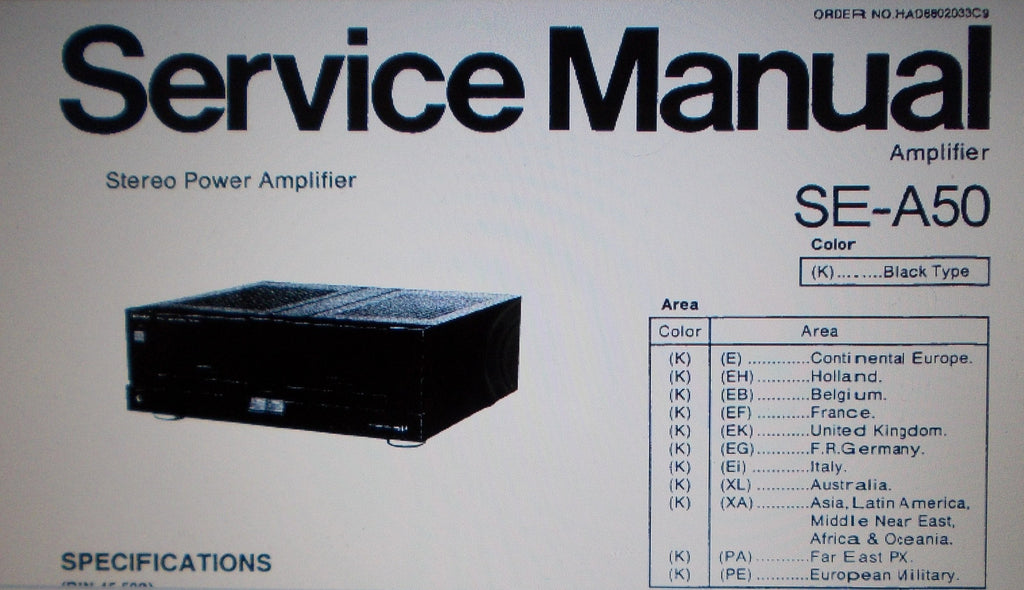 TECHNICS SE-A50 STEREO POWER AMP SERVICE MANUAL INC BLK DIAG SCHEMS PCBS AND PARTS LIST 26 PAGES ENG