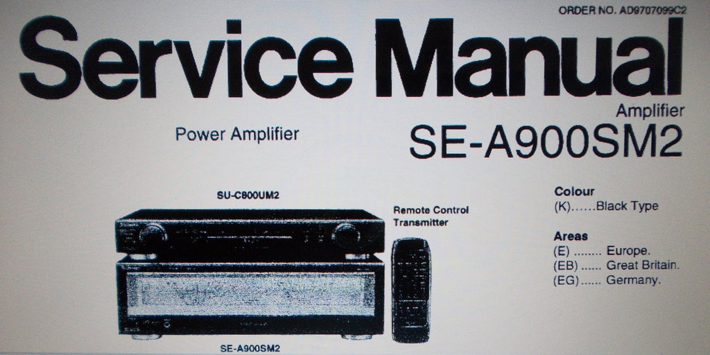 TECHNICS SE-A900SM2 STEREO POWER AMP SERVICE MANUAL INC BLK DIAG CONN DIAGS WIRING DIAG SCHEMS PCBS AND PARTS LIST 31 PAGES ENG
