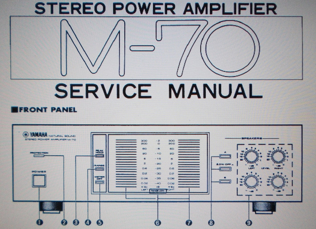 YAMAHA M-70 STEREO POWER AMP SERVICE MANUAL INC BLK DIAG SCHEMS AND PCBS 12 PAGES ENG