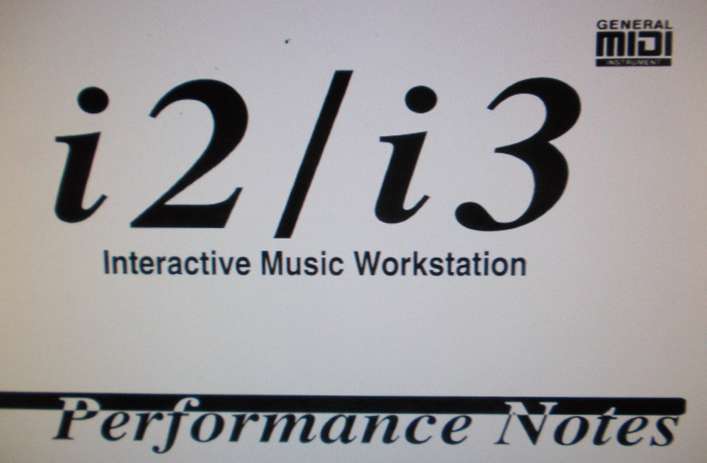KORG i2 i3 INTERACTIVE MUSIC WORKSTATION PERFORMANCE NOTES 18 PAGES ENG