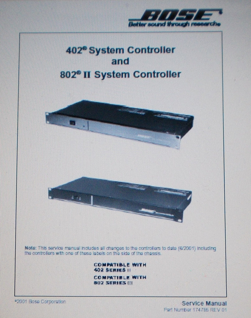 BOSE 802-IIC AND 402C SYSTEM CONTROLLER SERVICE MANUAL INC BLK DIAG AND PARTS LIST 67 PAGES ENG COVER PAGE 66