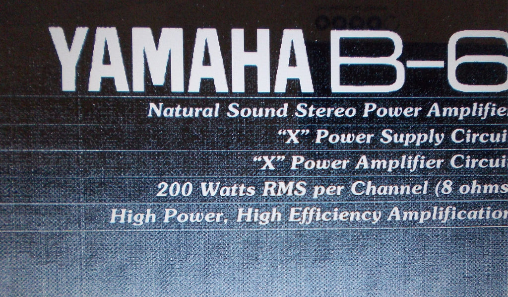 YAMAHA B-6 STEREO POWER AMP OWNER'S MANUAL INC CONN DIAG BLK DIAG AND TRSHOOT GUIDE 8 PAGES ENG