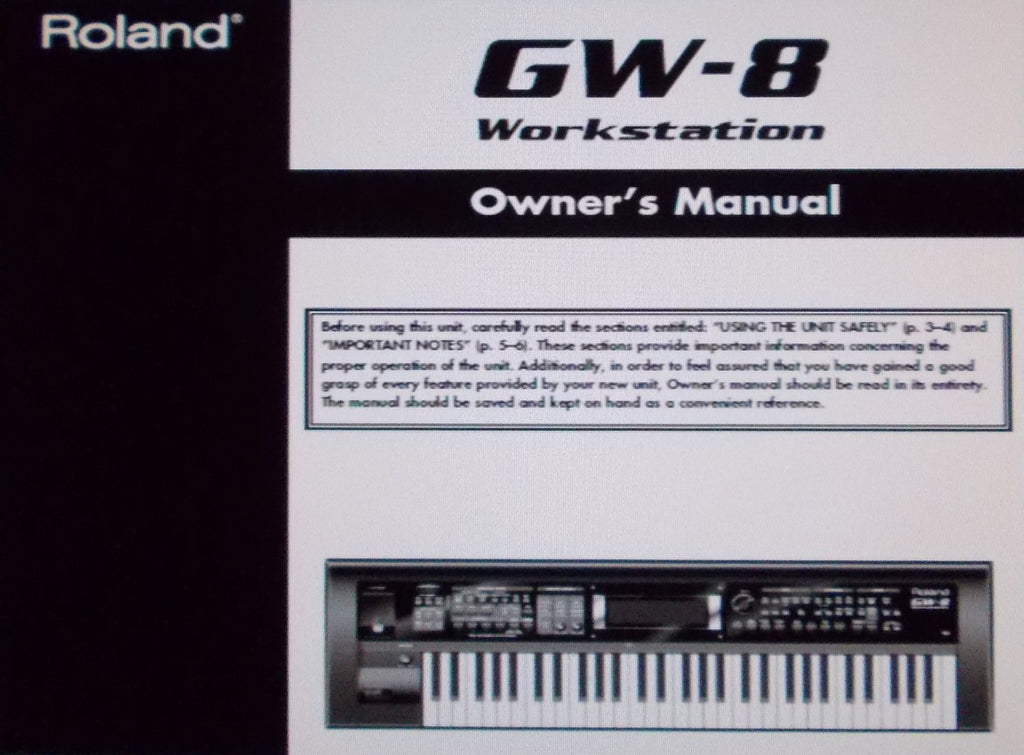 ROLAND GW-8 WORKSTATION OWNER'S MANUAL INC CONN DIAGS AND TRSHOOT GUIDE 112 PAGES ENG