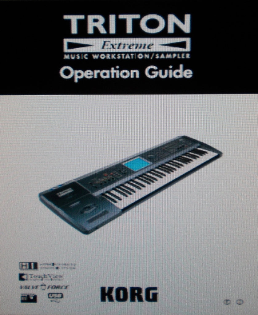 KORG TRITON EXTREME MUSIC WORKSTATION SAMPLER OPERATION GUIDE INC CONN DIAG AND TRSHOOT GUIDE 148 PAGES ENG