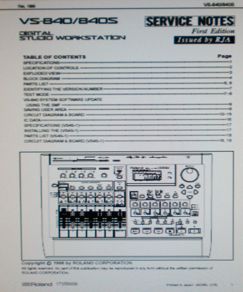 ROLAND VS-840 VS-840S DIGITAL STUDIO WORKSTATION SERVICE NOTES FIRST EDITION INC BLK DIAG SCHEMS PCBS AND PARTS LIST 19 PAGES ENG
