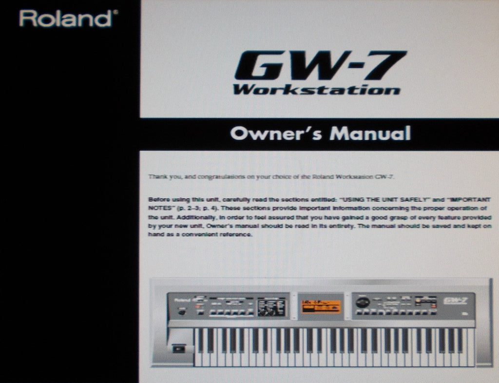 ROLAND GW-7 WORKSTATION OWNER'S MANUAL INC CONN DIAGS AND TRSHOOT GUIDE 48 PAGES ENG