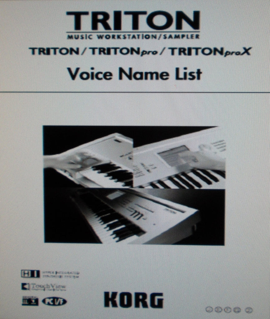 KORG TRITON TRITON PRO TRITON PROX MUSIC WORKSTATION SAMPLER VOICE NAME LIST 36 PAGES ENG