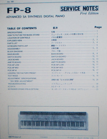 ROLAND FP-8 ADVANCED SA SYNTHESIS DIGITAL PIANO SERVICE NOTES FIRST EDITION INC SCHEMS AND PARTS LIST 23 PAGES ENG