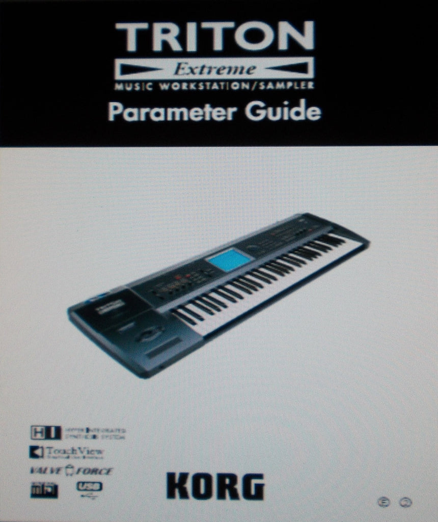 KORG TRITON EXTREME MUSIC WORKSTATION SAMPLER PARAMETER GUIDE INC BLK DIAGS 354 PAGES ENG