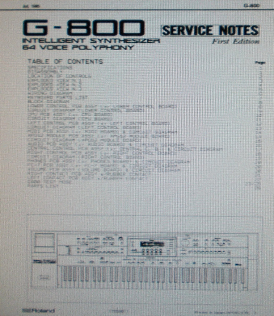 ROLAND G-800 ARRANGER WORKSTATION INTELLIGENT SYNTHESIZER 64 VOICE POLYPHONY SERVICE NOTES FIRST EDITION INC BLK DIAG WIRING DIAG SCHEMS PCBS AND PARTS LIST 26 PAGES ENG