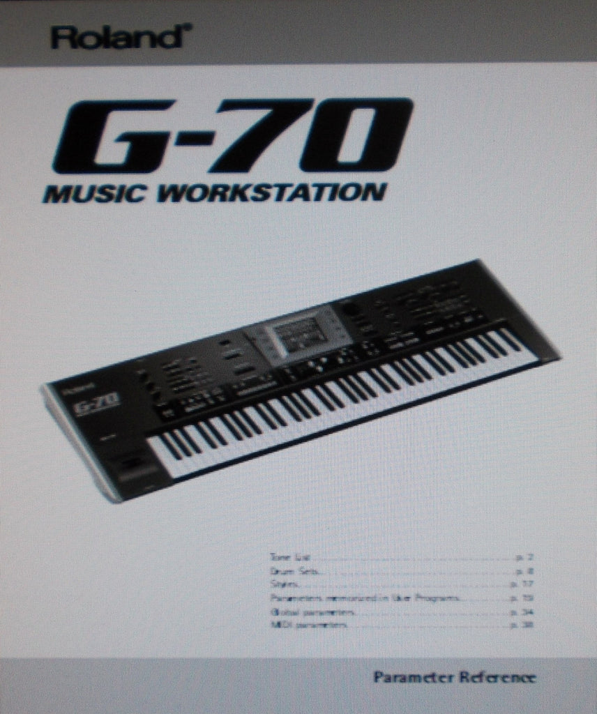 ROLAND G-70 MUSIC WORKSTATION PARAMETER REFERENCE 40 PAGES ENG