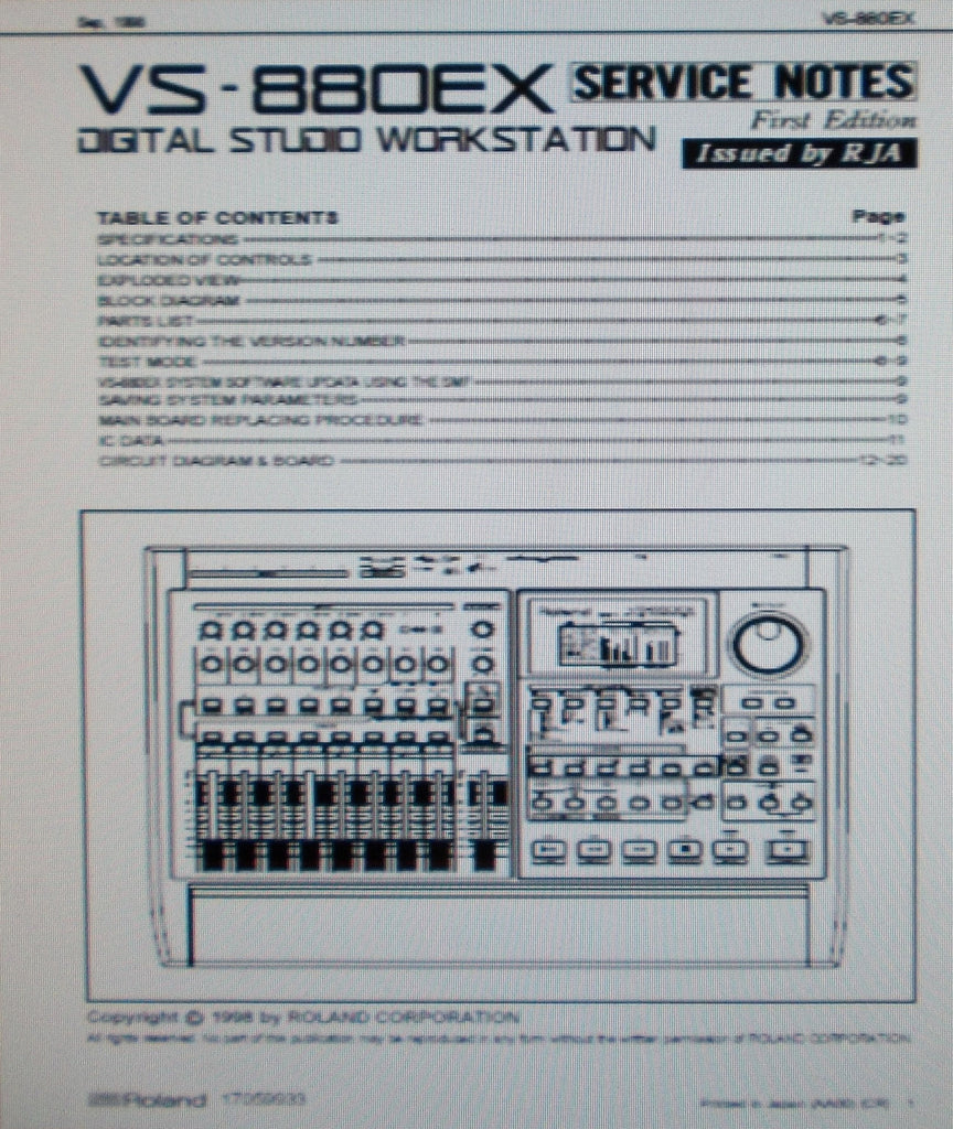 ROLAND VS-880EX DIGITAL STUDIO WORKSTATION SERVICE NOTES FIRST EDITION INC BLK DIAG SCHEMS PCBS AND PARTS LIST 20 PAGES ENG