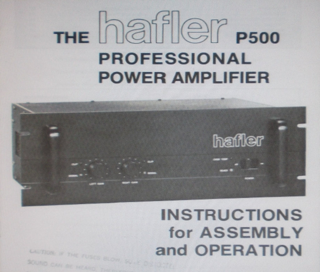 HAFLER P500 PROFESSIONAL STEREO POWER AMP INSTRUCTIONS FOR ASSEMBLY AND OPERATION INC BLK DIAGS SCHEM DIAG PCBS AND PARTS LIST 28 PAGES ENG