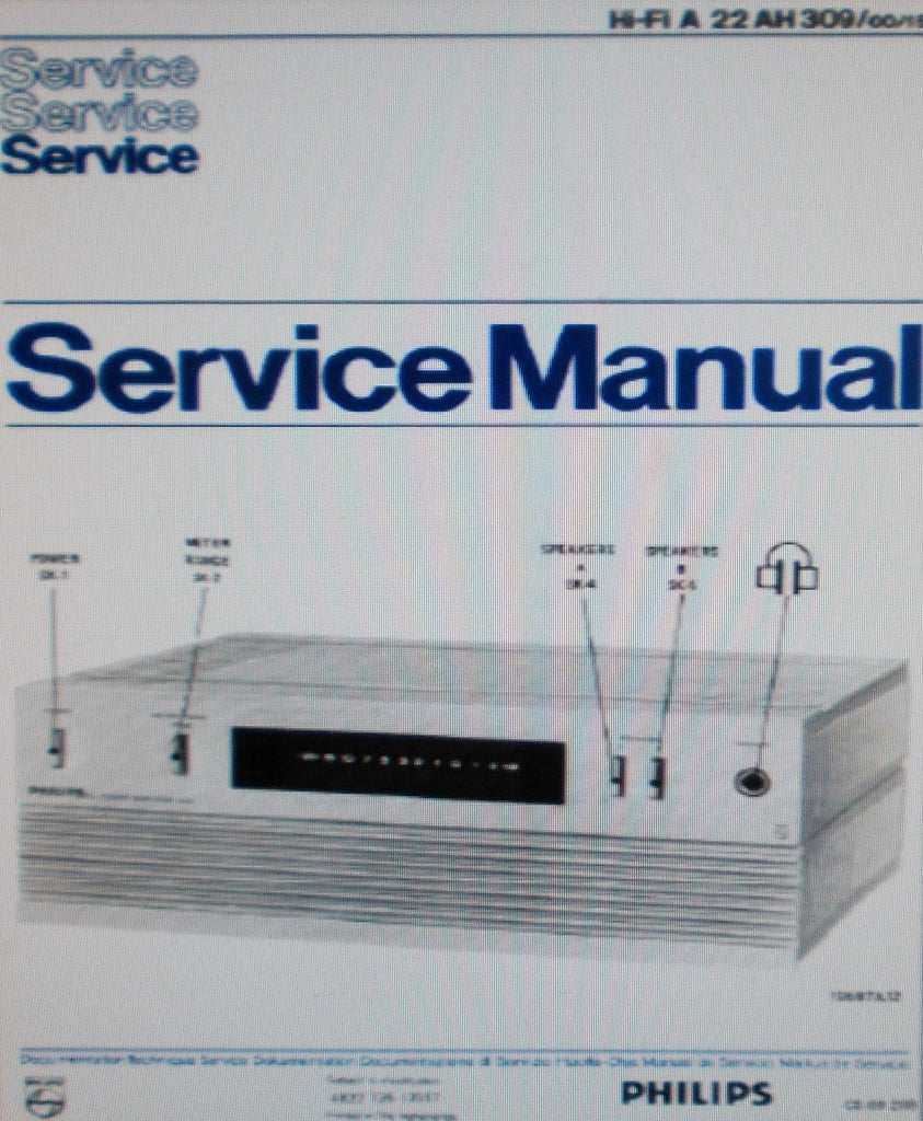 PHILIPS 22AH309 STEREO DC POWER AMP SERVICE MANUAL INC SCHEM DIAG PCBS AND PARTS LIST 8 PAGES ENG NL FRANC DEUT ESP