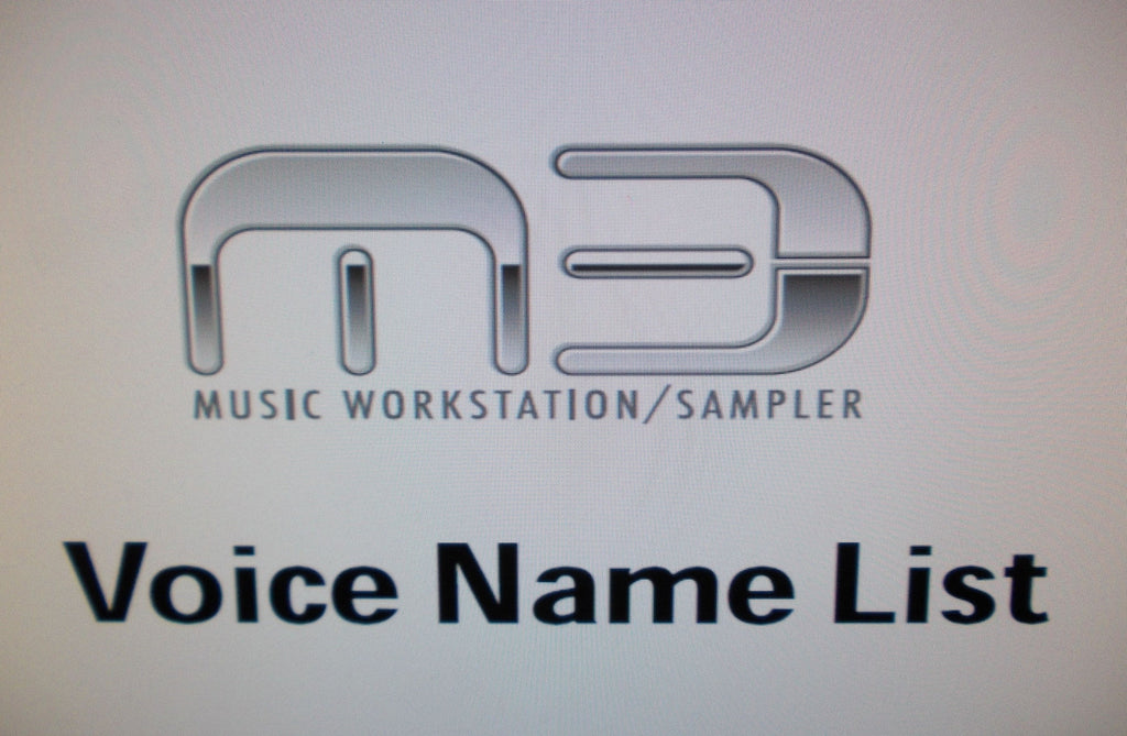 KORG M3 MUSIC WORKSTATION SAMPLER VOICE NAME LIST 112 PAGES ENG