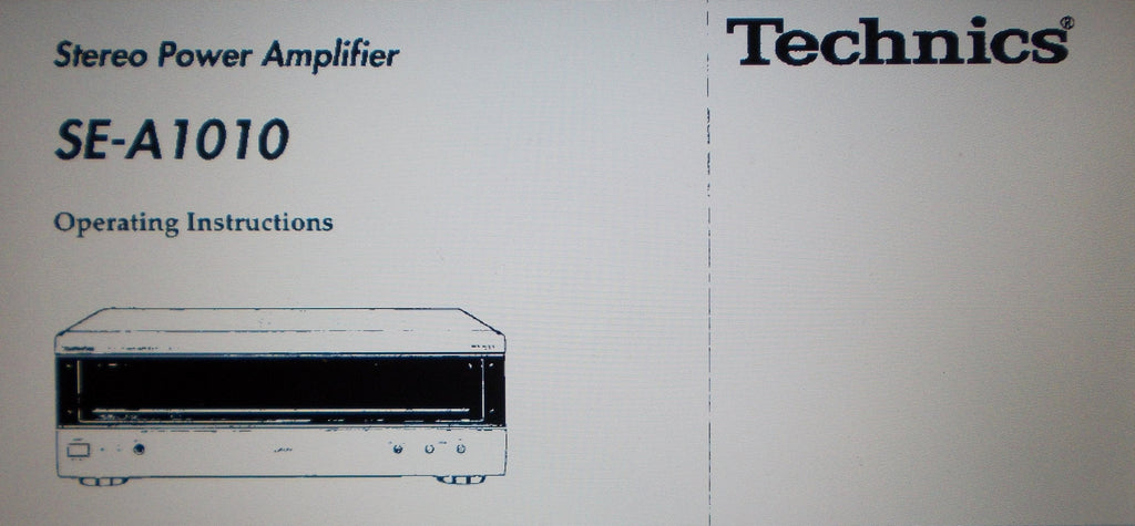 TECHNICS SE-A1010 STEREO POWER AMP OPERATING INSTRUCTIONS INC CONN DIAGS AND TRSHOOT GUIDE 20 PAGES ENG FRANC