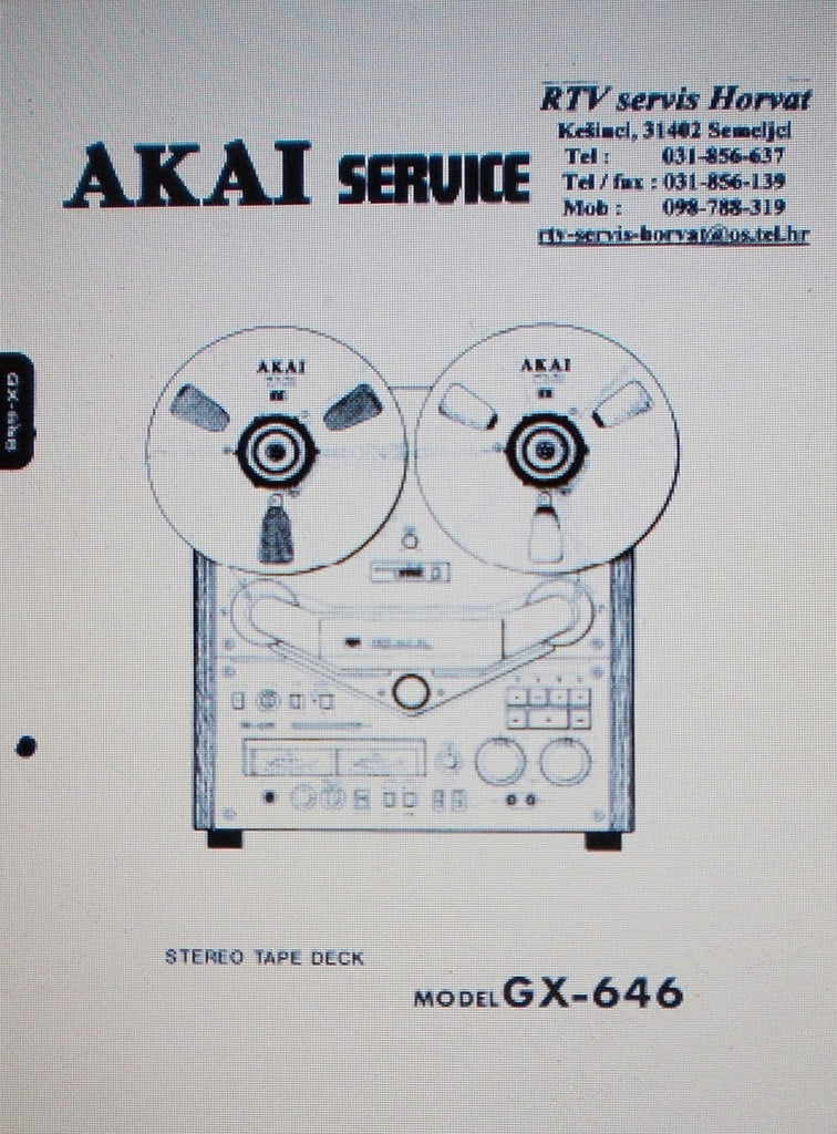 AKAI GX-646 REEL TO REEL STEREO TAPE  DECK SERVICE MANUAL INC SCHEMS AND PARTS LIST 56 PAGES ENG