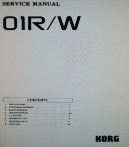 KORG 01R W MUSIC WORKSTATION SERVICE MANUAL INC BLK DIAG SCHEMS PCBS AND PARTS LIST 47 PAGES ENG